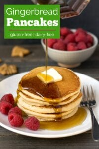 Gluten free gingerbread pancakes are perfect for the holidays.