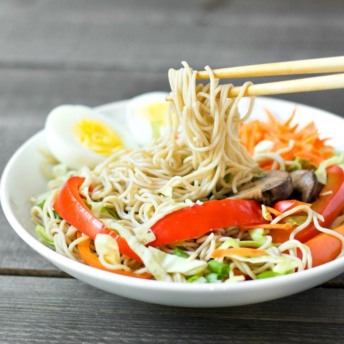 This healthy millet and brown rice ramen recipe is a delicious, hearty vegetarian meal. Lots of flavors and textures in one bowl!
