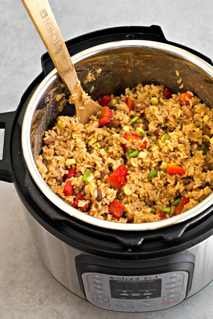 This Instant Pot beans and rice recipe is such an easy one to make for a quick meal. I love having a batch on hand for healthy lunches throughout the week.