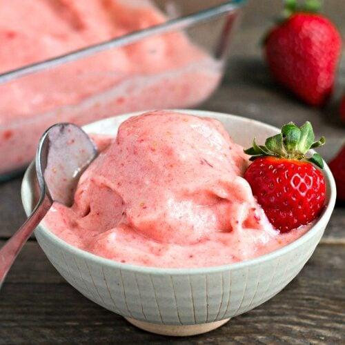 Strawberry banana soft serve ice cream (vegan, gluten-free)