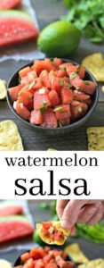 Watermelon salsa is such a refreshing summer recipe! This healthy appetizer is perfect for a summer cookout. Recipe from realfoodrealdeals.com