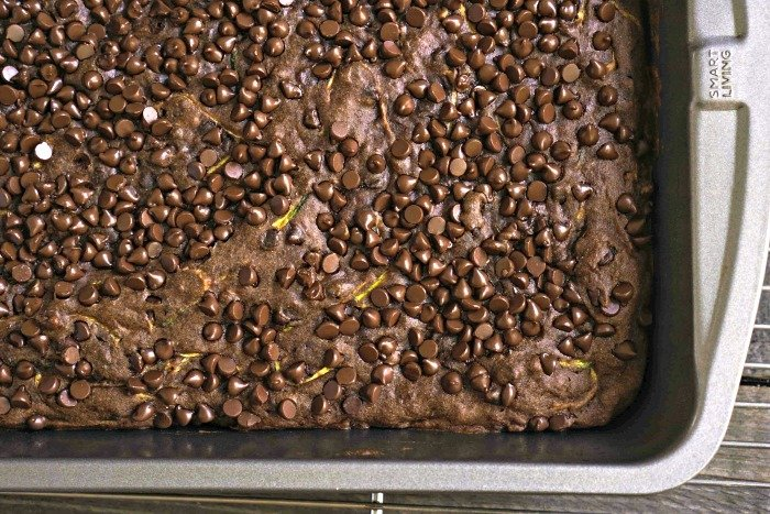 It's hard to resist taking a sliver of this chocolate zucchini cake right out of the pan!