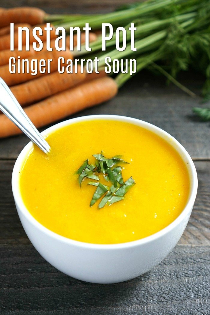 This Instant Pot Ginger Carrot Soup is the perfect light dinner for summer. You don't even need to turn on the stove! Gluten-free, vegan