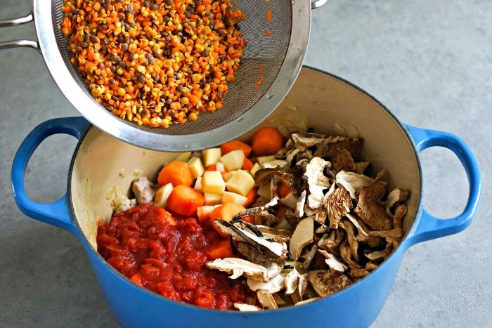 This autumn lentil blend from Cost Plus World Market adds a healthy base to this sausage stew.