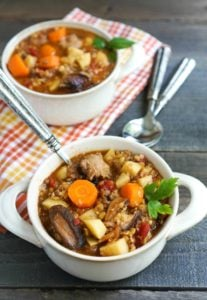 This spicy fall sausage lentil stew is a healthy dinner recipe that highlights fall flavors in a hearty comfort food meal.