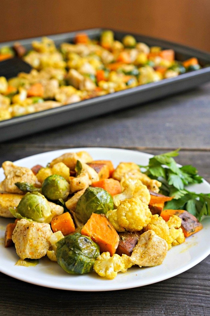 This sheet pan chicken curry with vegetables is an easy, delicious recipe. So much flavor in this healthy dinner!