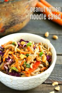 This peanut ramen noodle salad is a healthy, delicious recipe for lunch or dinner. It also makes a wonderful side dish at a potluck meal.