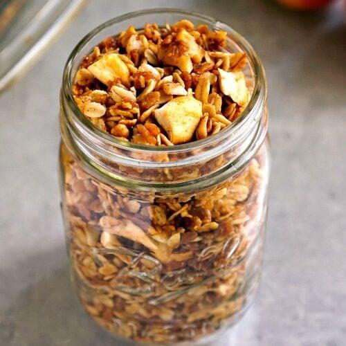 Apple granola is a delicious, healthy breakfast or snack.