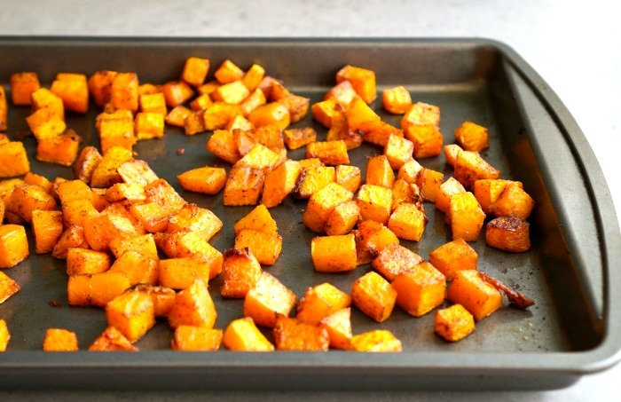 This chili roasted butternut squash is a delicious, healthy side dish! Gluten-free, vegan