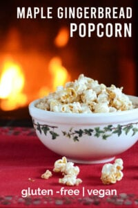 Maple gingerbread popcorn in a bowl