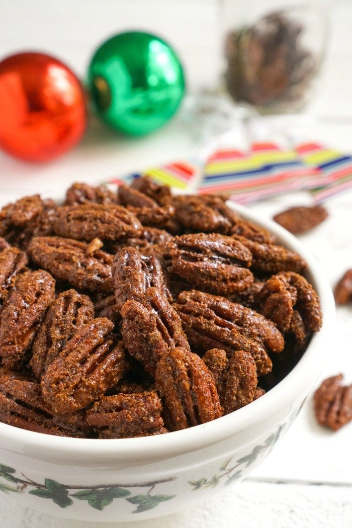 These sweet chili pecans are a delicious, healthy treat for the holidays, and they make a great homemade food gift. Everyone will love this gluten-free, dairy-free snack.