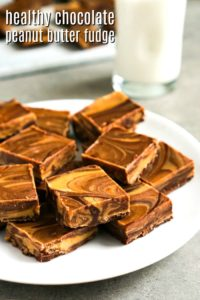 This 5 ingredient healthy chocolate peanut butter fudge is such a delicious dessert recipe! The flavors go so well together.