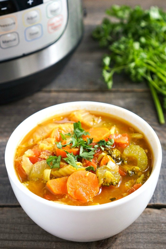 This Instant Pot Detox Vegetable Soup is an easy, healthy recipe for a light lunch or dinner. It's full of nourishing ingredients and lots of colorful vegetables, and it costs just $.86 per serving. (gluten-free, vegan)