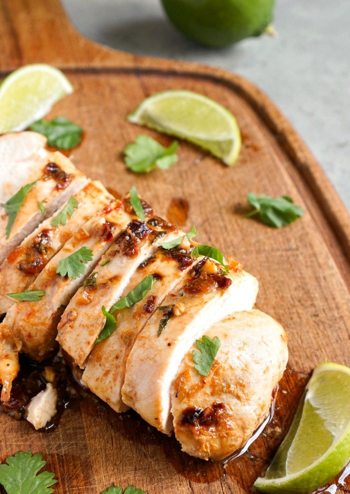 This cilantro lime chicken is so full of flavor! It's a delicious, healthy recipe that can be served as a main dish or an addition to tacos. (gluten-free, dairy-free)