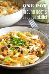 This one pot ground beef and cabbage skillet is an easy, healthy dinner recipe. It takes just 15 minutes to make, and it's surprisingly addictive!