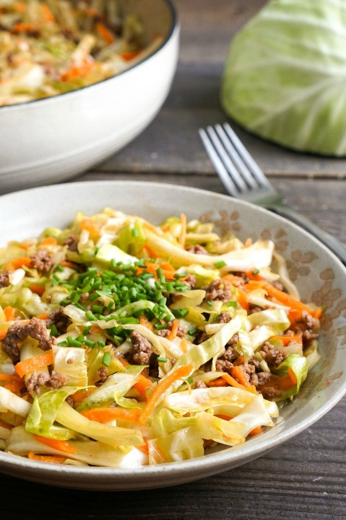 This one pot ground beef and cabbage skillet is an easy, healthy dinner recipe. It takes just 15 minutes to make, and it's surprisingly addictive! (gluten-free, dairy-free)