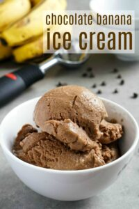 This chocolate banana ice cream is such an easy, healthy dessert recipe! You can make this no-churn ice cream with just three simple ingredients.