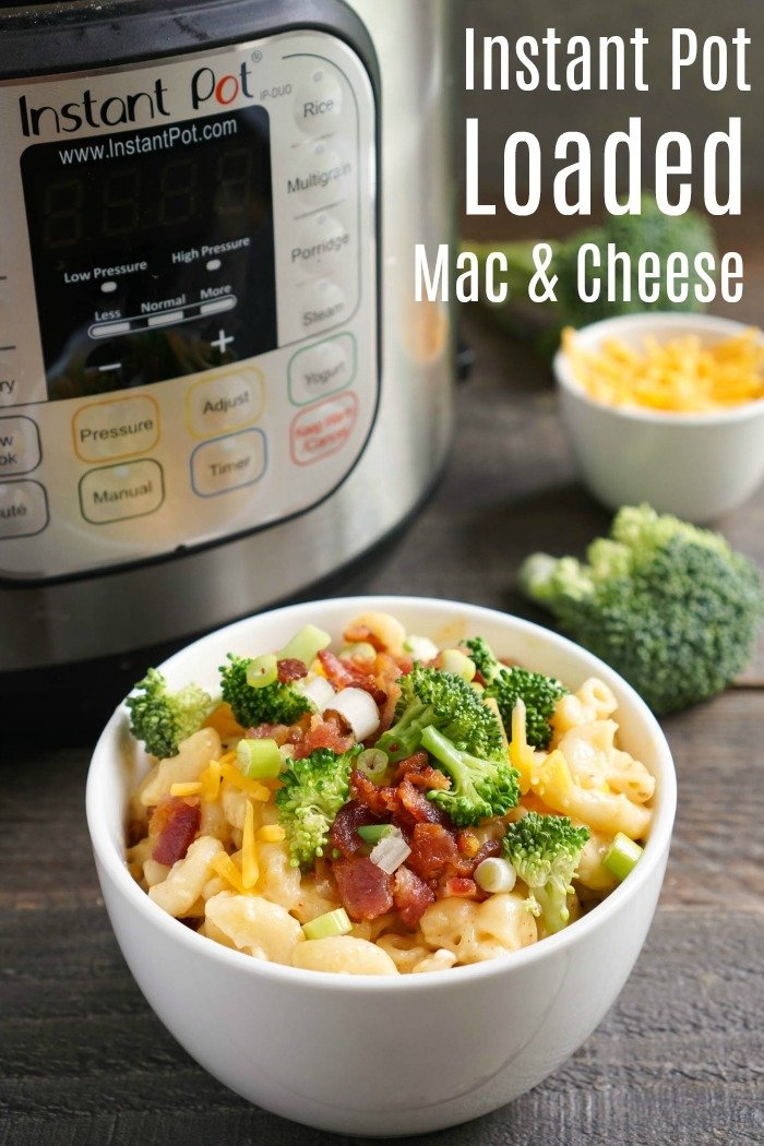 This Loaded Instant Pot Mac and Cheese with bacon is such a delicious comfort food recipe! It's similar to a loaded baked potato, but the flavor is even better.