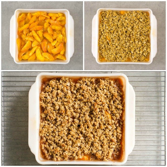 This healthy peach oatmeal crisp is so easy to make! Before and after photos of the baking process