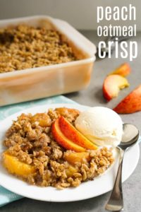 This peach oatmeal crisp recipe is a delicious, healthy dessert that can be served warm or cold. You could even get away with serving it for breakfast! (Gluten-free, vegan)