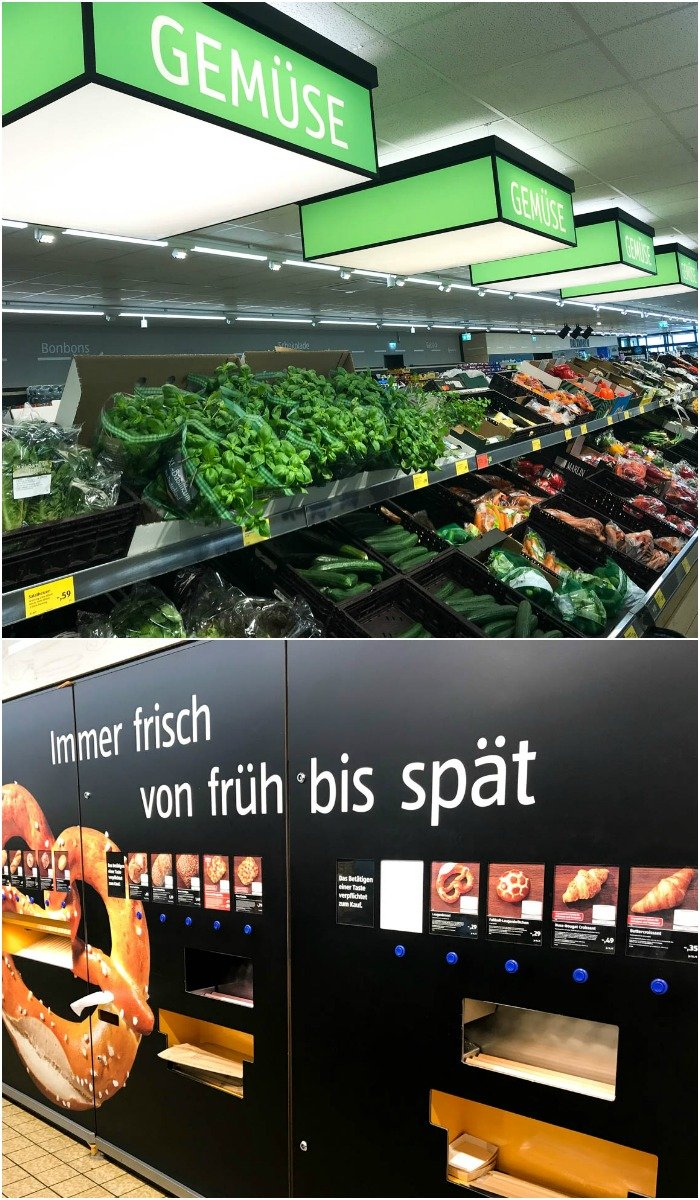 This Aldi in Germany sells lots of affordable groceries, including pretzels from a vending machine!