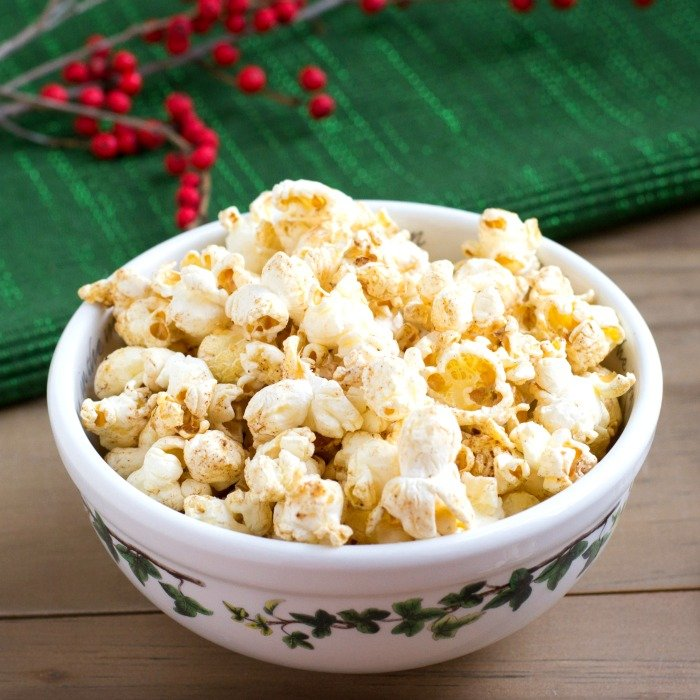Maple gingerbread popcorn with coconut oil is the perfect holiday snack!