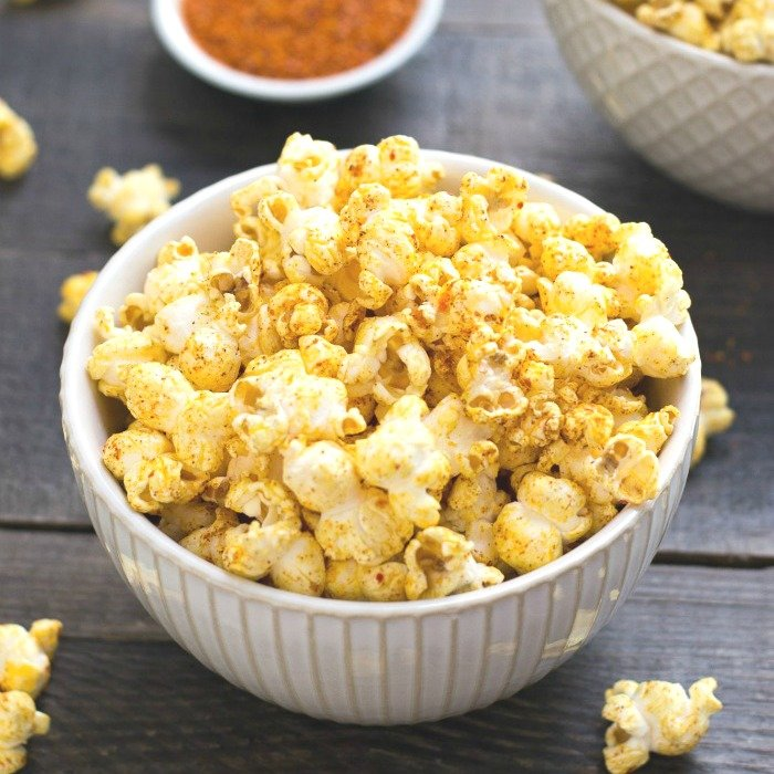 This sweet and spicy popcorn features coconut oil and lots of flavor!