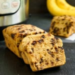 Instant Pot banana bread on a cutting board
