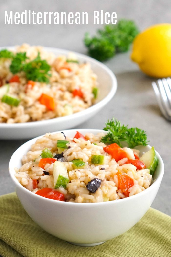 This Mediterranean rice is a delicious lemon rice side dish that goes well with so many things! Make this recipe using jasmine rice in the Instant Pot or on the stove.