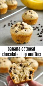 These banana oatmeal chocolate chips muffins are a delicious, healthy snack. The oats give them a hearty texture, and the chocolate chips make them taste like a treat!