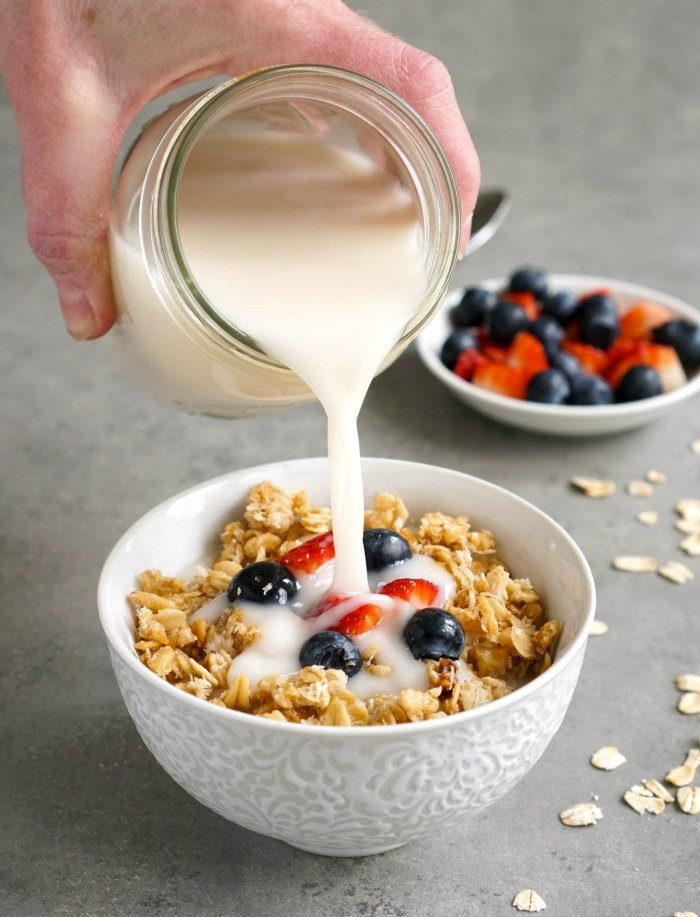 This oat milk recipe is perfect with a bowl of granola!