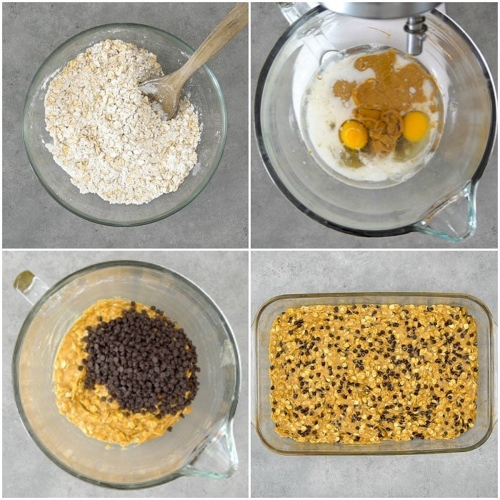 The process behind making peanut butter oatmeal bars is so easy.