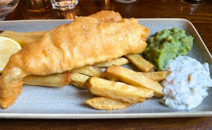 Fish and chips can be found on just about every menu in the UK. It's one of the most famous foods in England.
