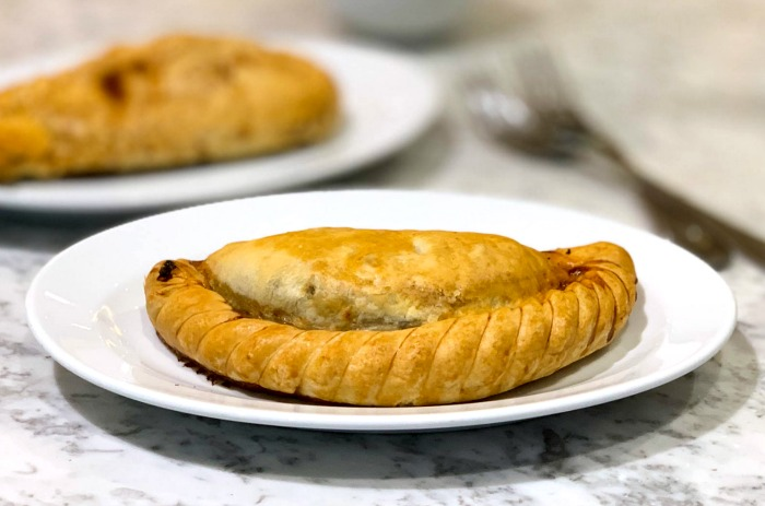 A pasty is a hand-held meal found throughout England.