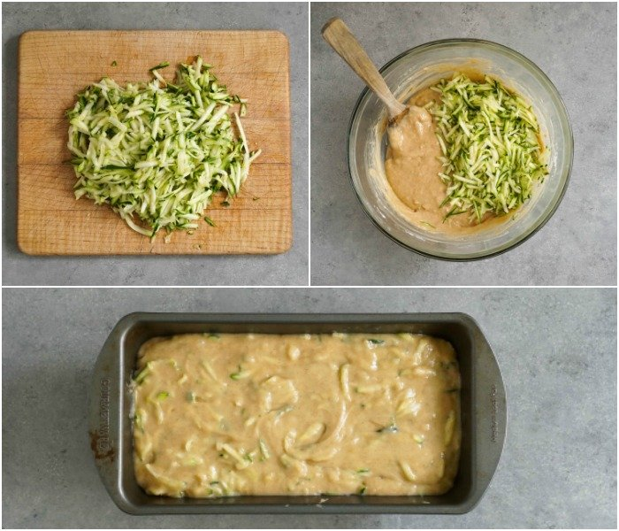 The process behind this zucchini bread is very easy.