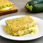 This gluten free grilled cheese sandwich features a zucchini egg bake for the bread.