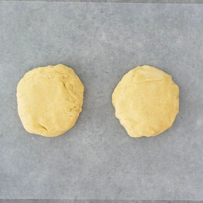 The dough is shaped into disks and refrigerated.