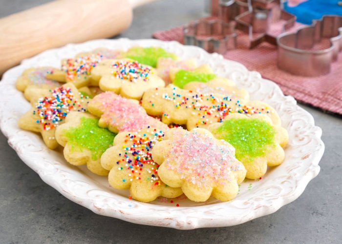 Soft cut out cookies on a platter