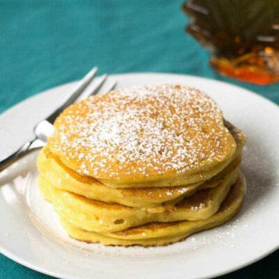 Gluten free sweet potato pancakes on a plate
