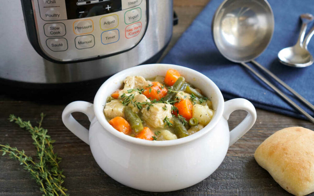 Instant Pot chicken stew in a soup crock