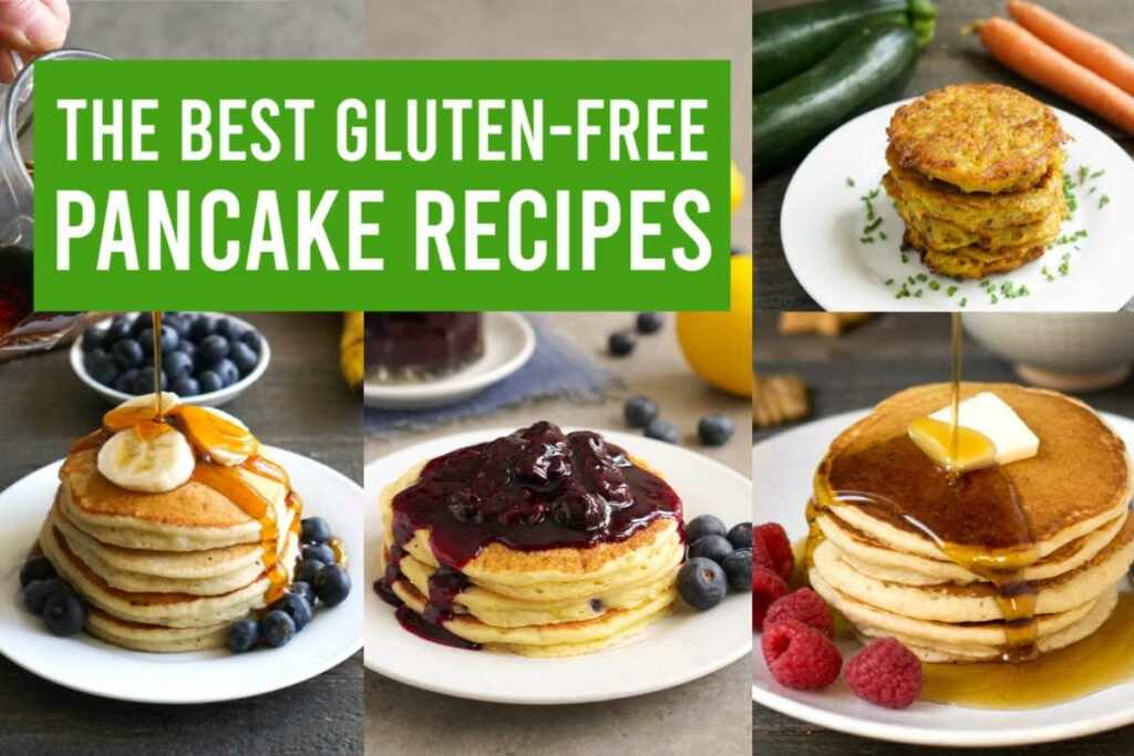 Four delicious gluten-free pancake recipes, on plates with toppings