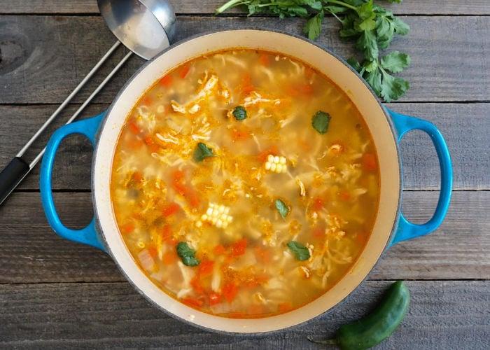 Southwestern chicken soup in a pot
