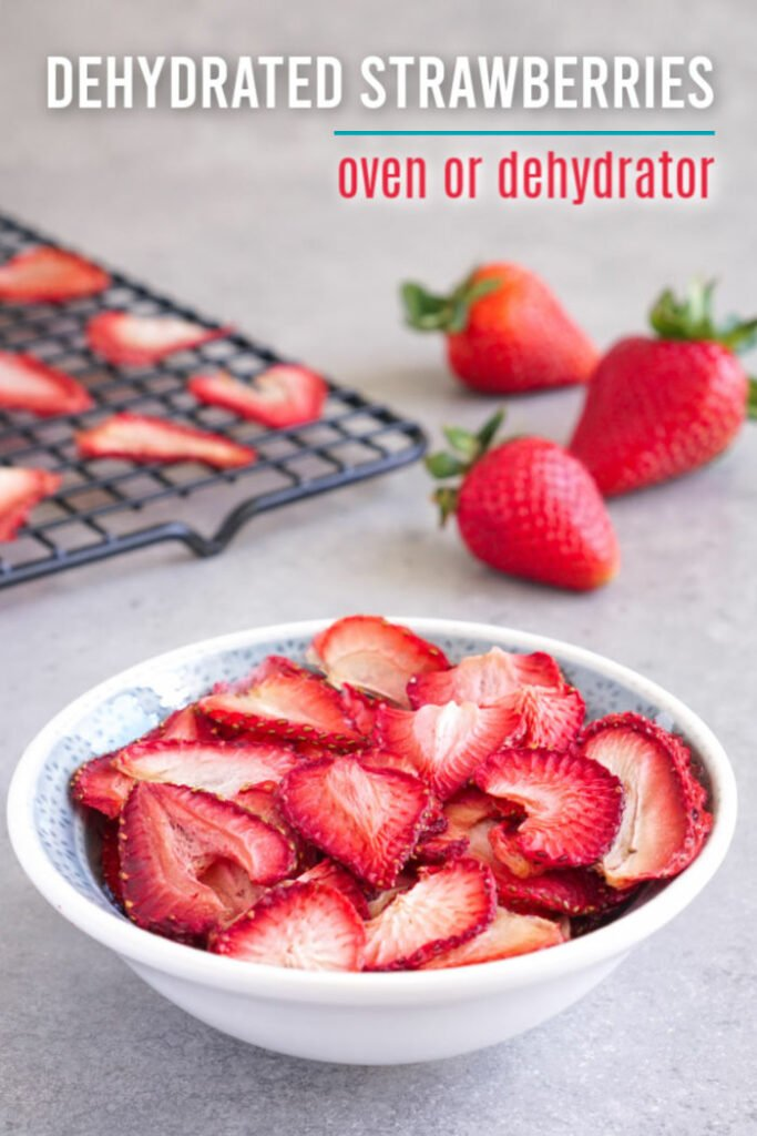 Bowl of dehydrated strawberries