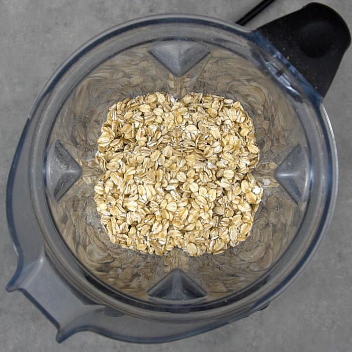Oats in a blender to make oat flour