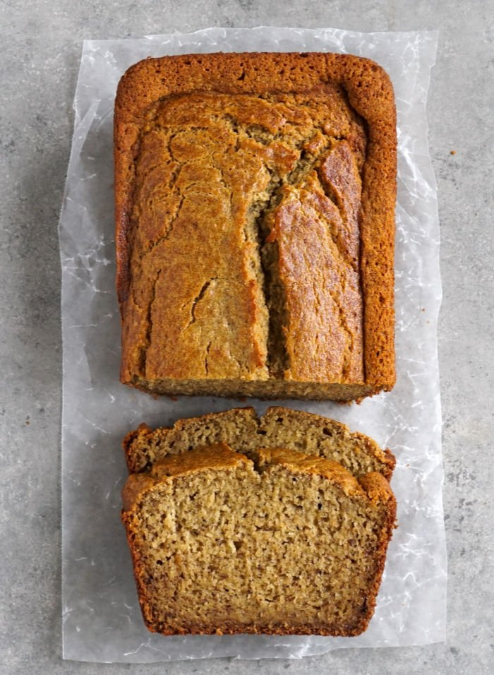 Banana bread loaf with slices