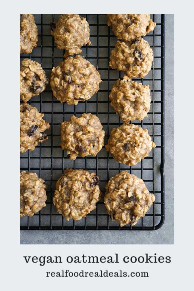 Gluten free oatmeal raisin cookies on cooling rack