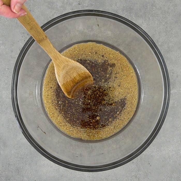 Wet ingredients of vegan oatmeal cookies