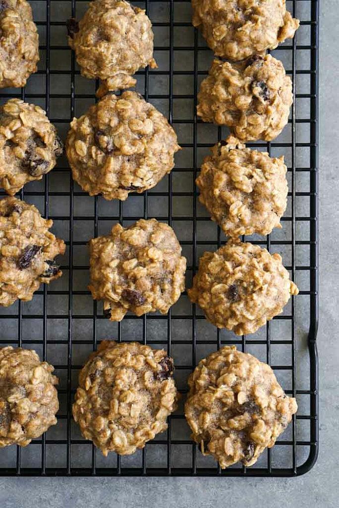 Vegan oatmeal cookies on rack