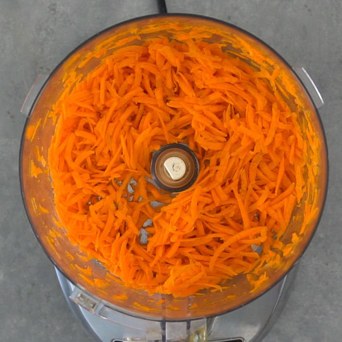 Grated carrots in the food processor