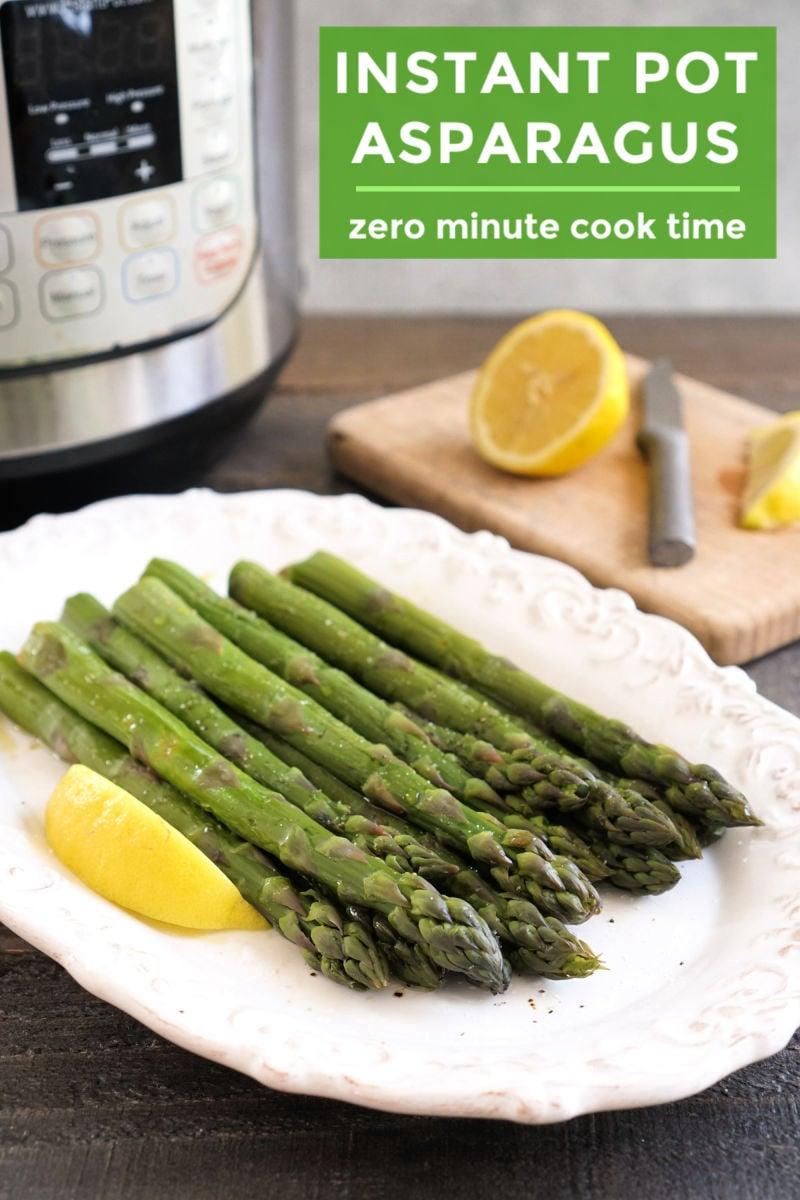 Instant Pot asparagus on a platter with lemon